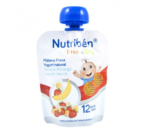 Nutriben fruta & go platano fresa yogurt natural (90 g)