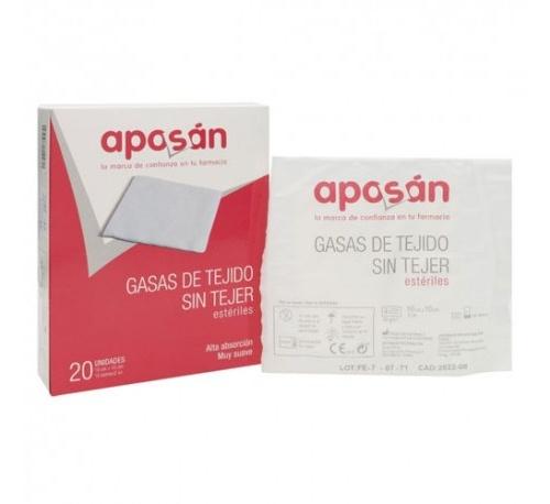 Aposan gasa esteril tejido sin tejer compresas (10 cm x 10 cm 20 gasas (2 u/sobre))