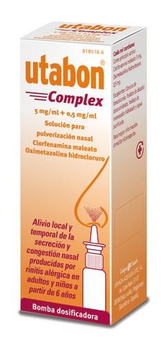 UTABON COMPLEX 5 mg/ml + 0,5 mg/ml SOLUCION PARA PULVERIZACION NASAL , 1 frasco de 10 ml
