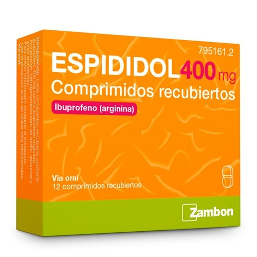 ESPIDIDOL 400 mg COMPRIMIDOS RECUBIERTOS, 12 comprimidos
