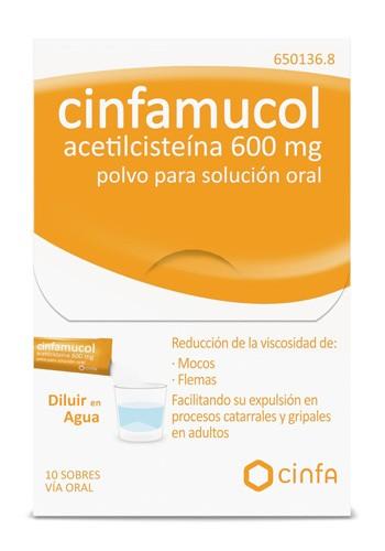 CINFAMUCOL ACETILCISTEINA 600 mg POLVO PARA SOLUCION ORAL , 10 sobres