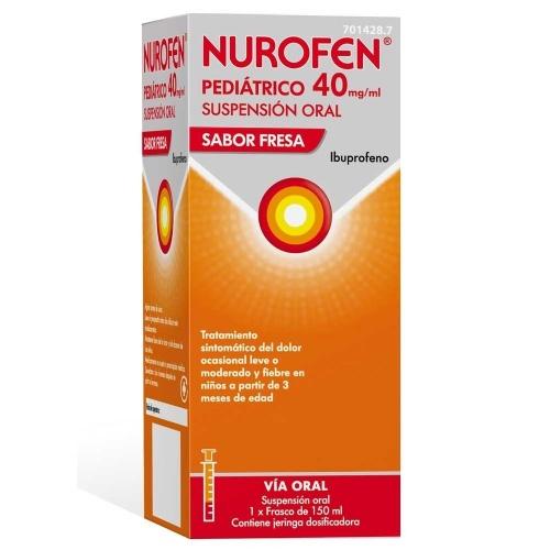 NUROFEN PEDIATRICO 40 MG/ML SUSPENSION ORAL SABOR FRESA , frasco de 150 ml