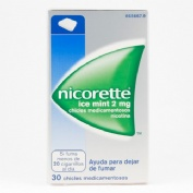 NICORETTE ICE MINT 2 mg CHICLES MEDICAMENTOSOS, 30 chicles